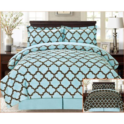 8 Piece Reversible Bed-In-A-Bag Set Size: Queen, Color: Blue/Black
