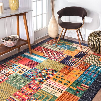 Vivienne Yellow/Blue Area Rug Rug Size: Rectangle 53 x 77