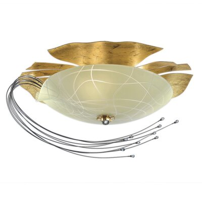 Niagara 3-Light Flush Mount Finish: Gold, Bulb Type: Halogen T10/3 x 150W