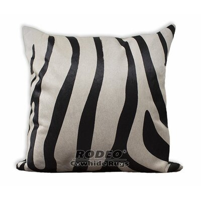 Zebra Cowhide Pillow Cover Size: 17 H x 17 W