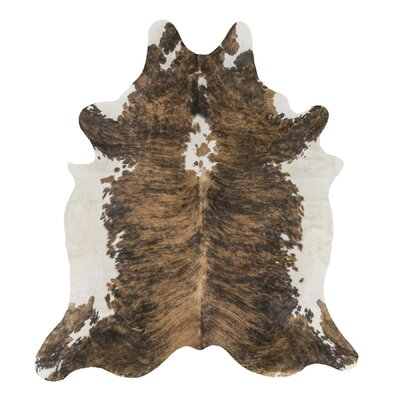 Exotic Brazilian Giant Size Brindle Cowhide Hand-Woven Brown Area Rug