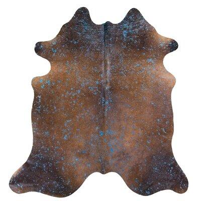Burgess Acid Wash on Cowhide Brown Indoor/Outdoor Area Rug