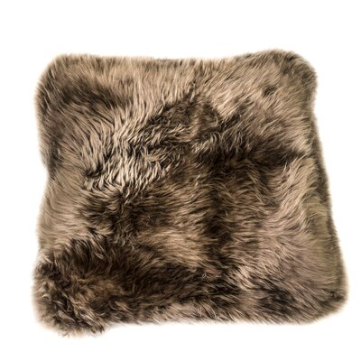 Bri Sheep Fur Pillow Cover Color: Brown