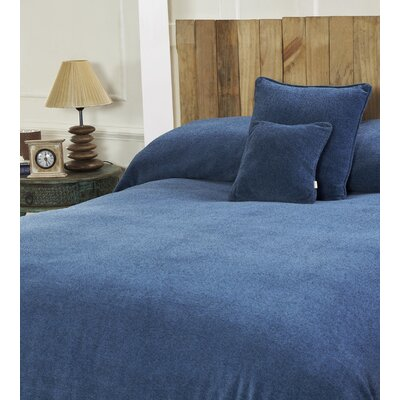 Melange Chenille Bed Coverlet Color: Wave Blue, Size: Full/Queen