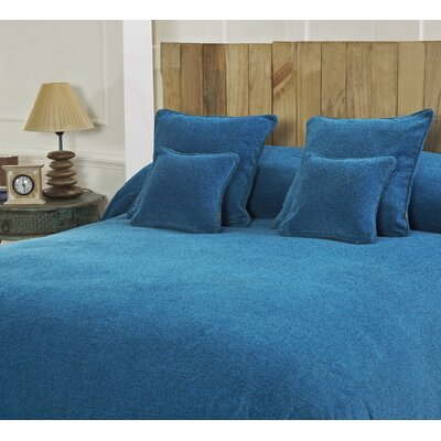 Melange Chenille Bed Coverlet Color: Reef Blue, Size: King