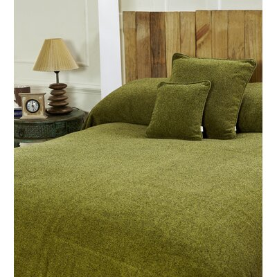 Melange Chenille Bed Coverlet Color: Pea Green, Size: Full/Queen