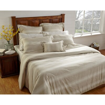 Rhythmic Stripe 3 Piece Duvet Cover Set Size: Queen, Color: Beige/White