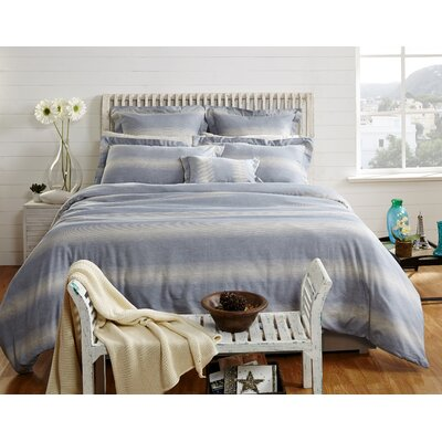 Rhythmic Stripe 3 Piece Duvet Cover Set Size: King, Color: Classic Blue/Grey Marble