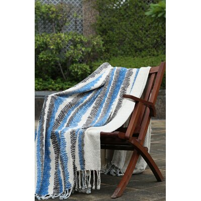 Scribble Stripe 100% Cotton Throw Color: Zany Blue/Plum Kitten