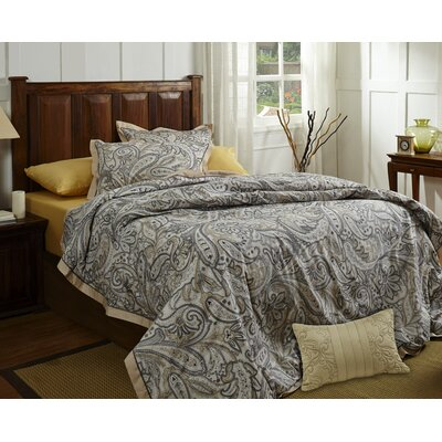 Paisley 3 Piece Duvet Cover Set Size: King, Color: Gold
