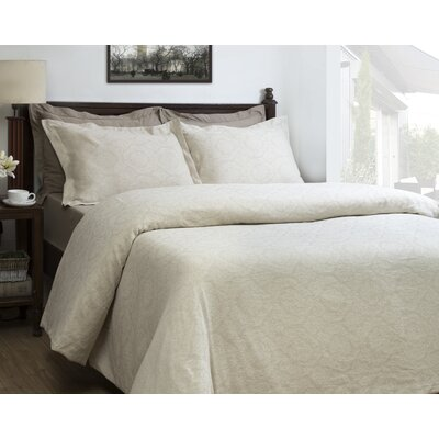 Damask Jacquard 3 Piece Duvet Cover Set Size: Queen