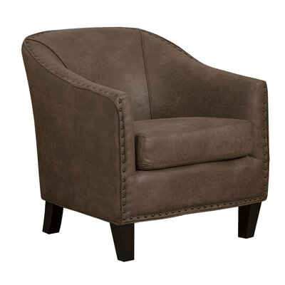 Grace Light Brown Bonded Leather Barrel Chair