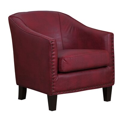 Grace Red Bonded Leather Barrel Chair