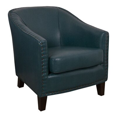 Grace Peacock Bonded Leather Barrel Chair