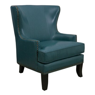 Gina Peacock Bonded Leather Winged Chair