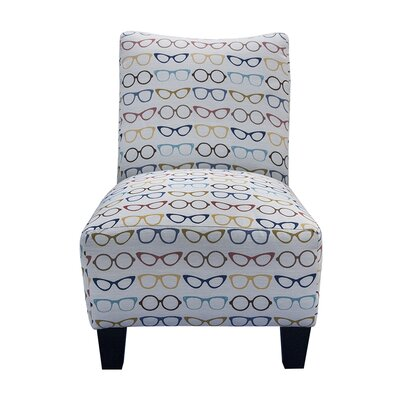 Grafton Designer Eyeglass Armless Slipper Chair and Ottoman