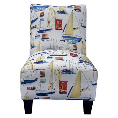 Grafton Nautical Delight Armless Slipper Chair and Ottoman
