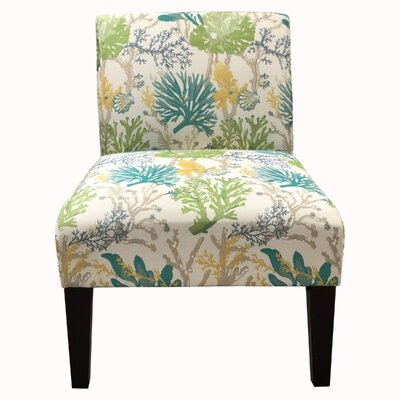 Slipper Chair Upholstery: Floral Blue