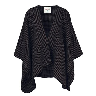 Cotton Poncho Blanket Color: Black/Brown Houndstooth