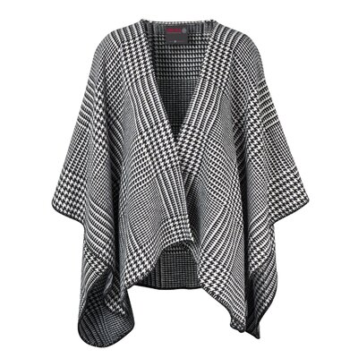 Cotton Poncho Blanket Color: Black/White Houndstooth