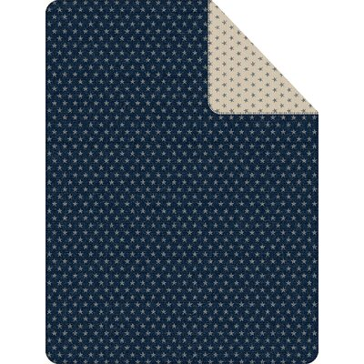 Stars Reversible Oversized Throw Color: Navy/Ivory