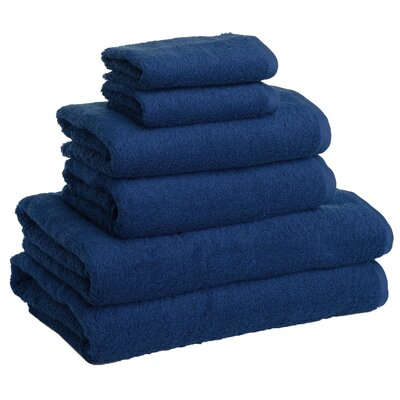New Generation 6 Piece Towel Set Color: Marine Navy Blue