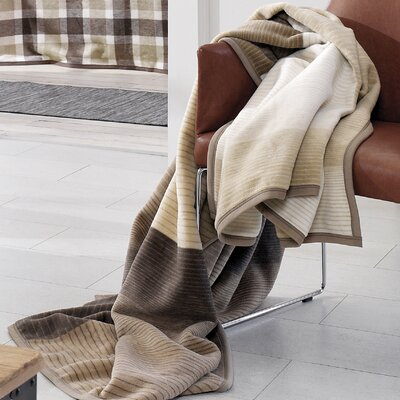 Sorrento Block Stripe Oversized Throw Color: Brown/Ivory