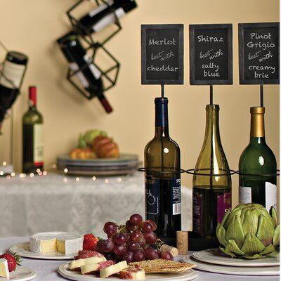 Chalkboard Labels 3 Bottle Tabletop Wine Bottle Rack