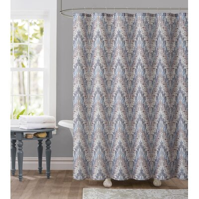 Tile Dobby Shower Curtain Color: Brown