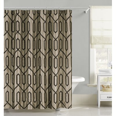 Flocking Faux Silk Fabric Shower Curtain Color: Taupe