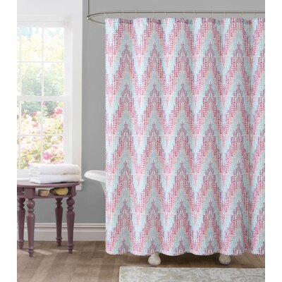 Tile Dobby Shower Curtain Color: Pink