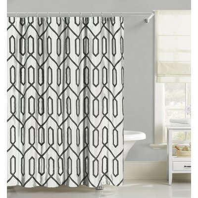 Flocking Faux Silk Fabric Shower Curtain Color: White
