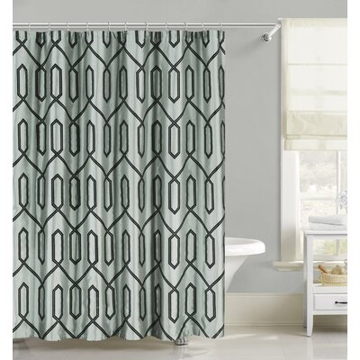Flocking Faux Silk Fabric Shower Curtain Color: Spa Blue