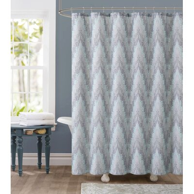 Tile Dobby Shower Curtain Color: Green