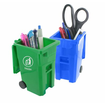 Mini Curbside Trash and Recycle Can Set Pencil Cup TNT500