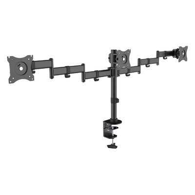Economy Steel LCD VESA Height Adjustable Universal Tilt 3 Screen Desk Mount
