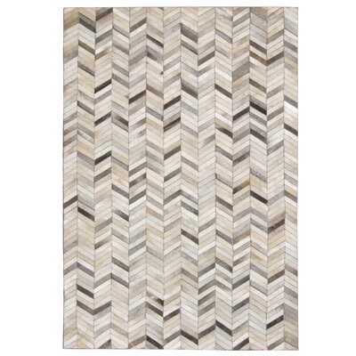 Chanler Chevron Hand Woven Cowhide Gray Area Rug