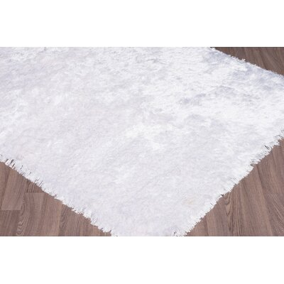 Bourg Hand-Woven White Area Rug Rug Size: 5 x 76