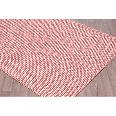 Linkwood Reversible Flatweave Hand Woven Wool Ivory/Red Area Rug Rug Size: Rectangle 8 x 10