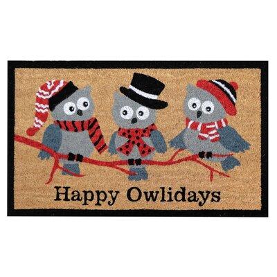 Happy Owlidays Christmas Coir Doormat