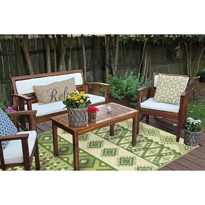 Croll Reversible Indoor/Outdoor Green Area Rug Rug Size: 6 x 9