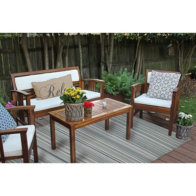 Frandsen Stripes Reversible Gray Indoor/Outdoor Area Rug Rug Size: 5 x 8