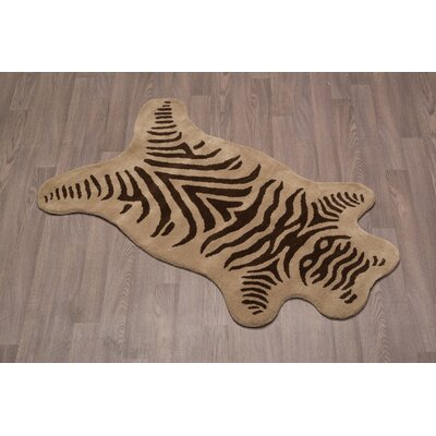 Topher Zebra Hand-Tufted Wool Olive Brown Area Rug