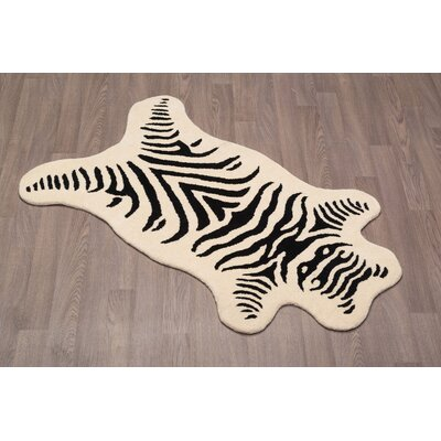 Tora Zebra Natural Hand Tufted Wool Black/White Area Rug