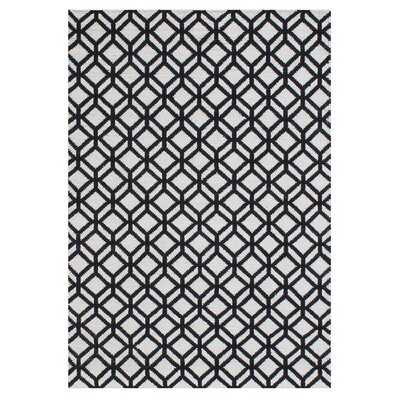 Leyba Hand-Knotted Wool Ivory/Black Area Rug Rug Size: Rectangle 5 x 76