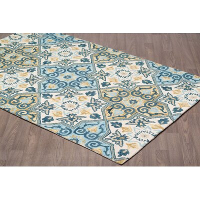 Edel Hand Tufted Wool Ivory/Blue Area Rug