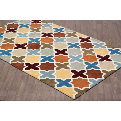 Erisnor Hand Tufted Wool Blue/Beige Area Rug
