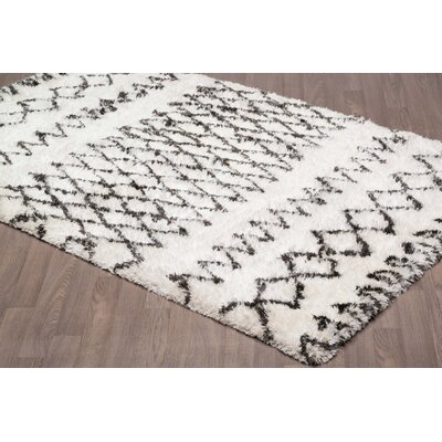Lajoie Moroccan Shag Hand Tufted Wool Ivory/Gray Area Rug