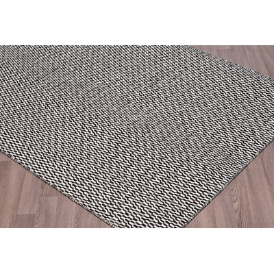 Linden Boulevard Reversible Flatweave Hand Woven Wool Ivory/Black Area Rug Rug Size: Rectangle 5 x 8