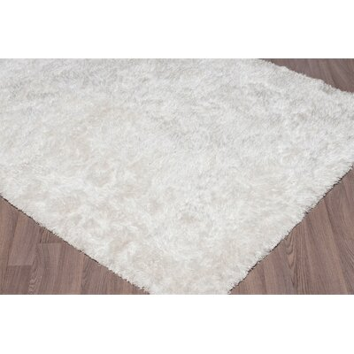 Emerie Super Soft Plush Shag Hand Woven White Area Rug Rug Size: Rectangle 5 x 8